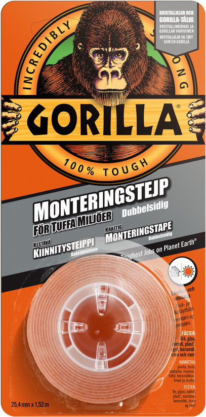 Monteringstejp 1,52 m x 25,4 mm