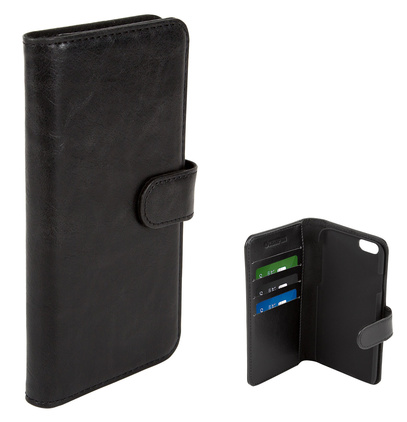 Mobilskal wallet case PU svart iPhone 6/6S